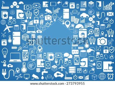 Smart home automation vector background. Icons / symbols for various devices and sensors. Light blue and white color scheme. - stock vector