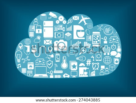 Smart home cloud computing. Light blue cloud with dark blue background and white icons / symbols. Connectivity of different wireless devices via the internet of things (IoT).  - stock vector