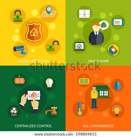 Smart home concept flat icons set of house security protection mobile energy automation control system and climate temperature monitoring for infographics design web elements vector illustration - stock vector