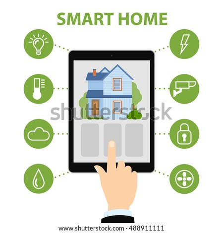 smart home concept hands hold tablet stock vector 488911111 shutterstock. Black Bedroom Furniture Sets. Home Design Ideas