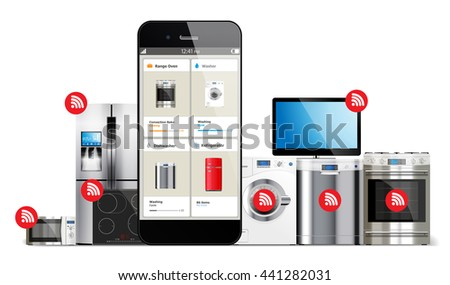 Smart home control system - kitchen and house appliances: microwave, washing machine, refrigerator, gas stove, dishwasher, tv managed by cell phone - stock vector