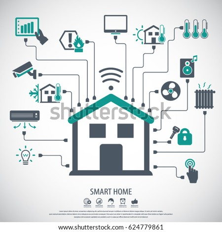 Smart Home System smart home flat design style vector stock photo photo vector