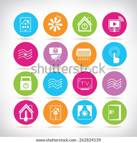 smart home icons set - stock vector
