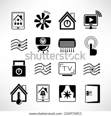 smart home icons set, smart house technology system - stock vector