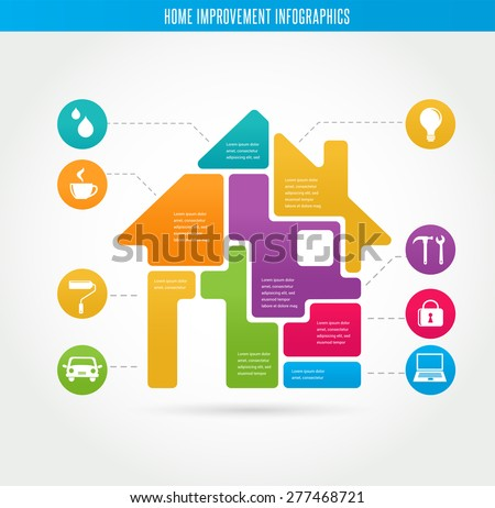 Smart Home - infographics and icon set - stock vector