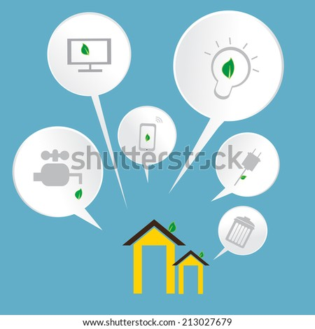 Smart Home Infographics with bubble - stock vector