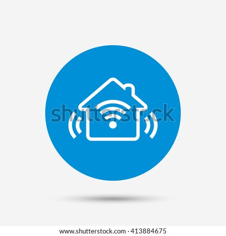 Smart home sign icon. Smart house button. Remote control. Blue circle button with icon. Vector