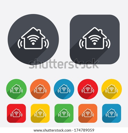 Smart home sign icon. Smart house button. Remote control. Circles and rounded squares 12 buttons. Vector - stock vector