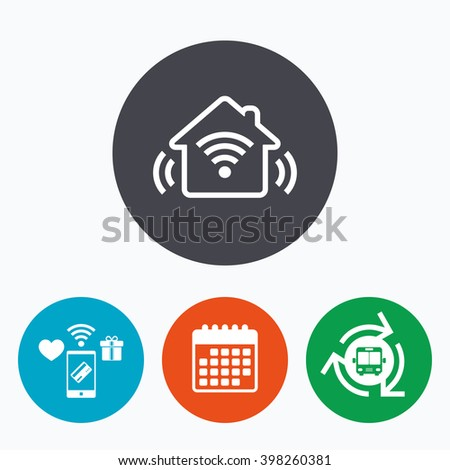 Smart home sign icon. Smart house button. Remote control. Mobile payments, calendar and wifi icons. Bus shuttle.