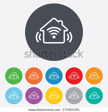 Smart home sign icon. Smart house button. Remote control. Round colourful 11 buttons. Vector
