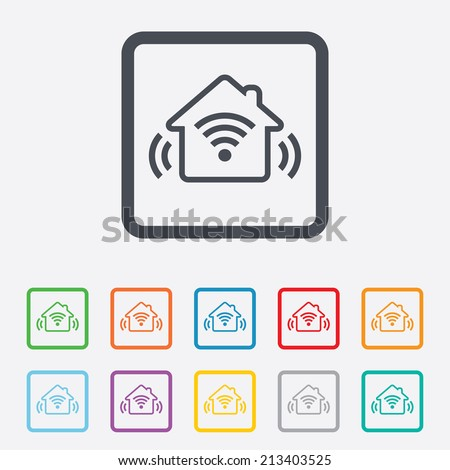 Smart home sign icon. Smart house button. Remote control. Round squares buttons with frame. Vector