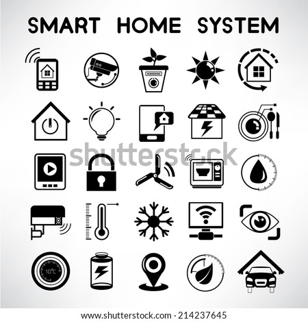 smart home system icons, home automation technology icons set - stock vector