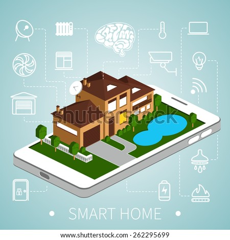 Smart home with outline icons on smart phone. Isometric house. EPS 8. - stock vector