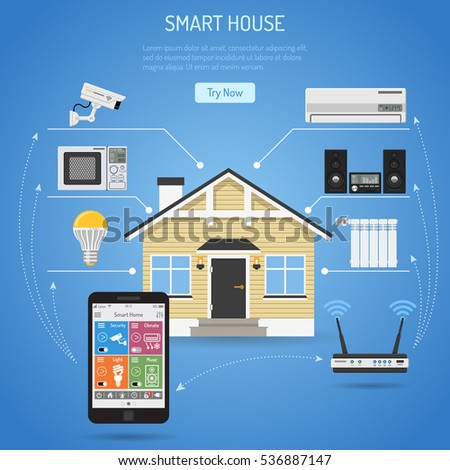 smart house internet things concept smartphone stock vector 536887147 shutterstock. Black Bedroom Furniture Sets. Home Design Ideas