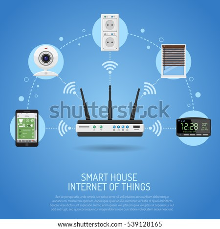 Smart House and internet of things concept. smartphone with router controls smart home like smart plug, security camera, louvers and clock flat icons. vector illustration