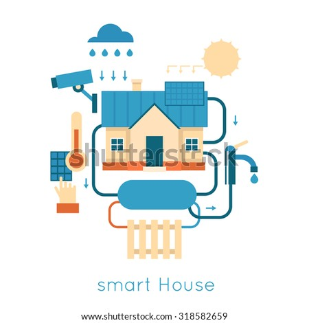 Smart House centralized control of lighting, heating, video energy of nature. Flat design vector illustration. - stock vector
