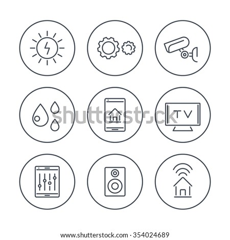 Smart House, smart electronics, internet of things, line icons in circles, vector illustration - stock vector