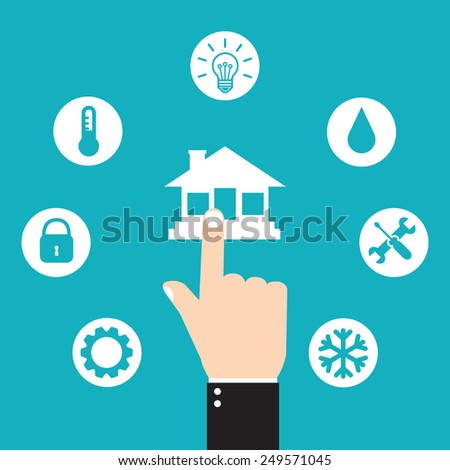 Smart house technology. Hand pressing house icon - stock vector