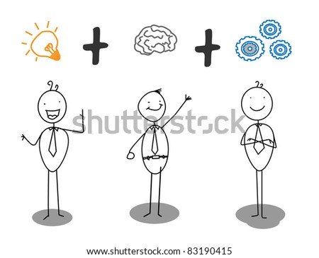 smart + idea + work progress - stock vector
