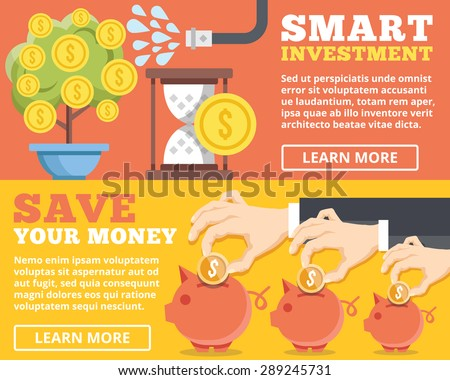 Smart investment, save your money flat illustration concepts set. Flat design concepts for web banners, web sites, printed materials, infographics. Creative vector illustration - stock vector