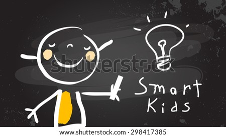 Smart kid with light bulb, chalk on blackboard. Back to school, education vector illustration.  - stock vector
