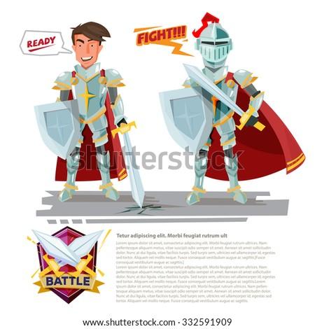smart knight character design with battle shields logo design  - vector illustration - stock vector