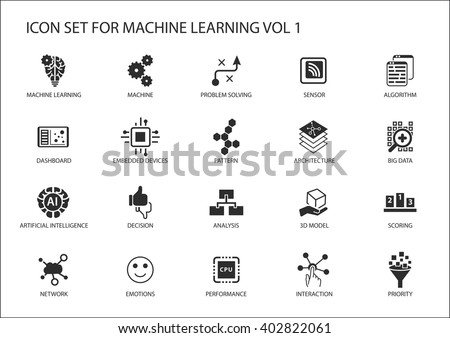 Smart machine learning vector icon set. Symbols for emotions, decision, network, problem solving, pattern, analysis, performance, priority, interaction, big data, algorithm, sensor. - stock vector