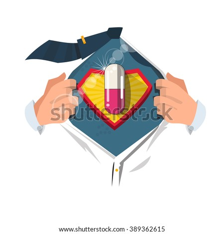 """smart man open shirt to show """" Pill """" in comic style. Painkiller concept. health care and medical. - vector illustration - stock vector"""