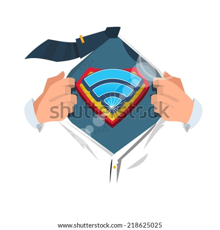 "smart man open shirt to show "" Wireless Network Symbol "" in superhero style. network concept - vector illustration - stock vector"