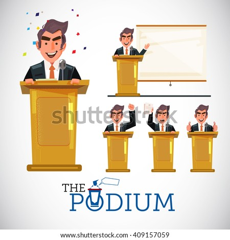 smart man speaking on podium in various action. character design. public speech concept set - vector illustration - stock vector