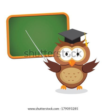 Smart owl on presentation. Vector illustration of wise owl lecturer giving presentation or on lesson. - stock vector
