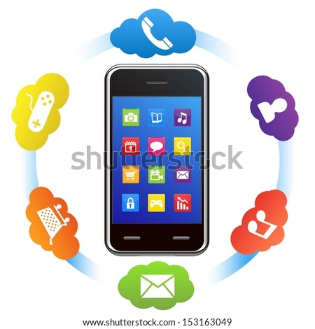 smart phone and applications - stock vector