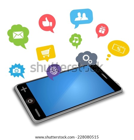 smart phone and apps in speech bubbles - stock vector
