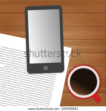 Smart Phone and Coffee Cup, Concept Idea on Wood Background. Vector Illustration.
