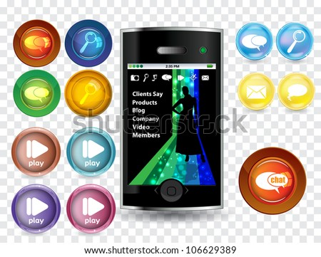 Smart phone and icon set - stock vector