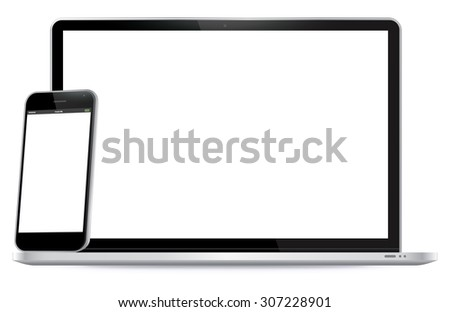 Smart Phone and Laptop Vector Illustration. - stock vector