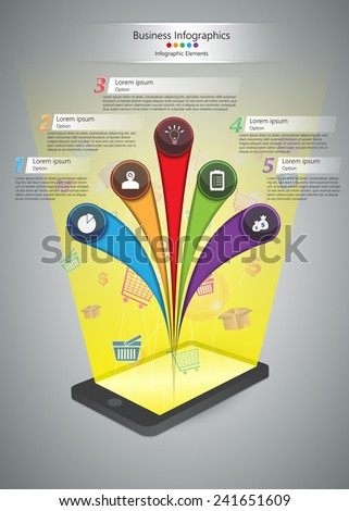 Smart Phone and Shopping Baskets, Shopping Cart, Packaging Box Symbols with Colorful Circle and Curved Shape, Business Icon, Number and Text Information Design.  Vector Illustration - stock vector