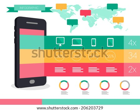 Smart phone and Smart devices info graphics. flat design icons and elements. vector - stock vector