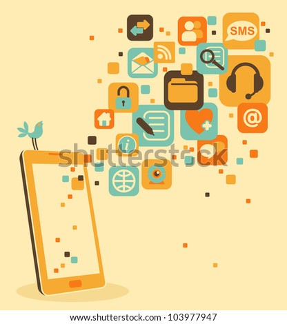 Smart phone and social, media, web icons