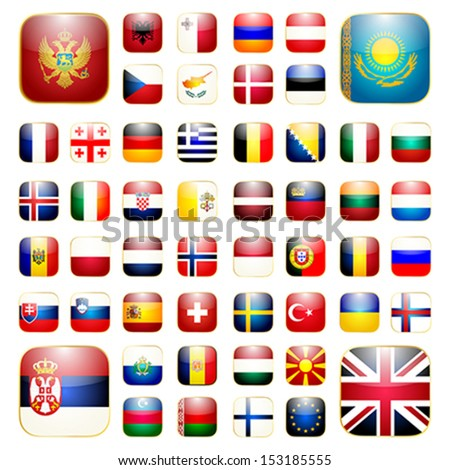 Smart phone application icon set with flags of Europe - stock vector