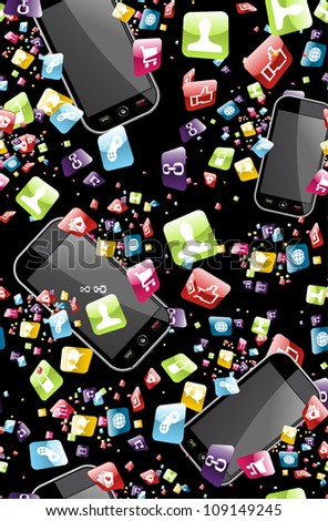 Smart phone application icons seamless pattern background  Vector file layered for easy manipulation and customization - stock vector