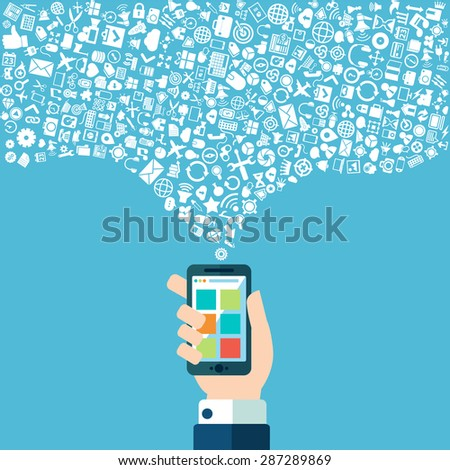 Smart phone apps and cloud technology - stock vector