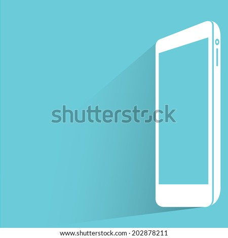 smart phone, blue shadow and flat theme - stock vector