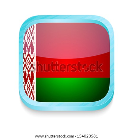 Smart phone button with Belarus flag - stock vector