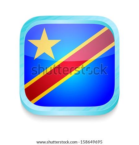 Smart phone button with Democratic Republic of Congo flag - stock vector