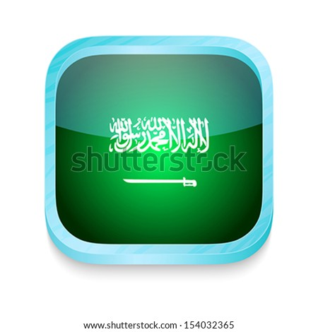 Smart phone button with Saudi Arabia flag - stock vector