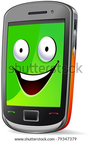 Smart phone character (smile).  The series of the cute electronic characters in vector. - stock vector