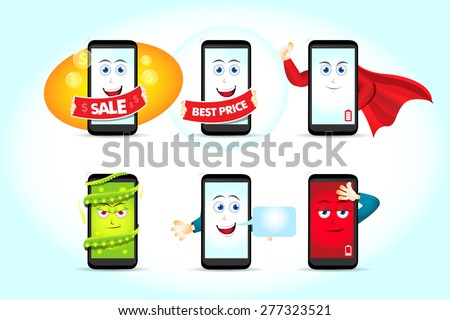 Smart phone characters vector set. Mobile phone. Sale phone character, best price phone character, superman phone character, virus phone character, message phone character, low battery phone character - stock vector