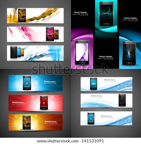Smart phone collection colorful presentation website headers vector - stock vector