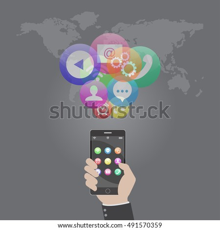 Smart phone device concept with application, app, icons. Flat design. Vector illustration